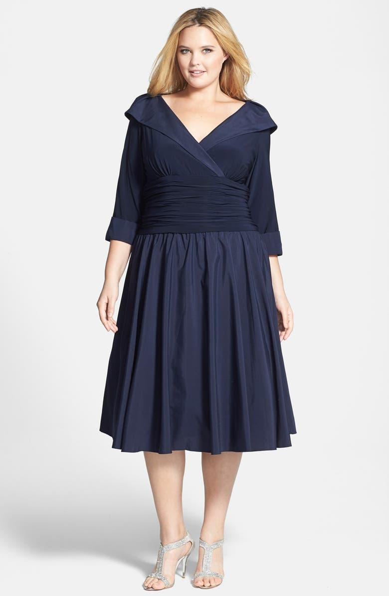 36ec300509c Jessica Howard Portrait Collar Surplice Fit   Flare Dress (Plus Size ...