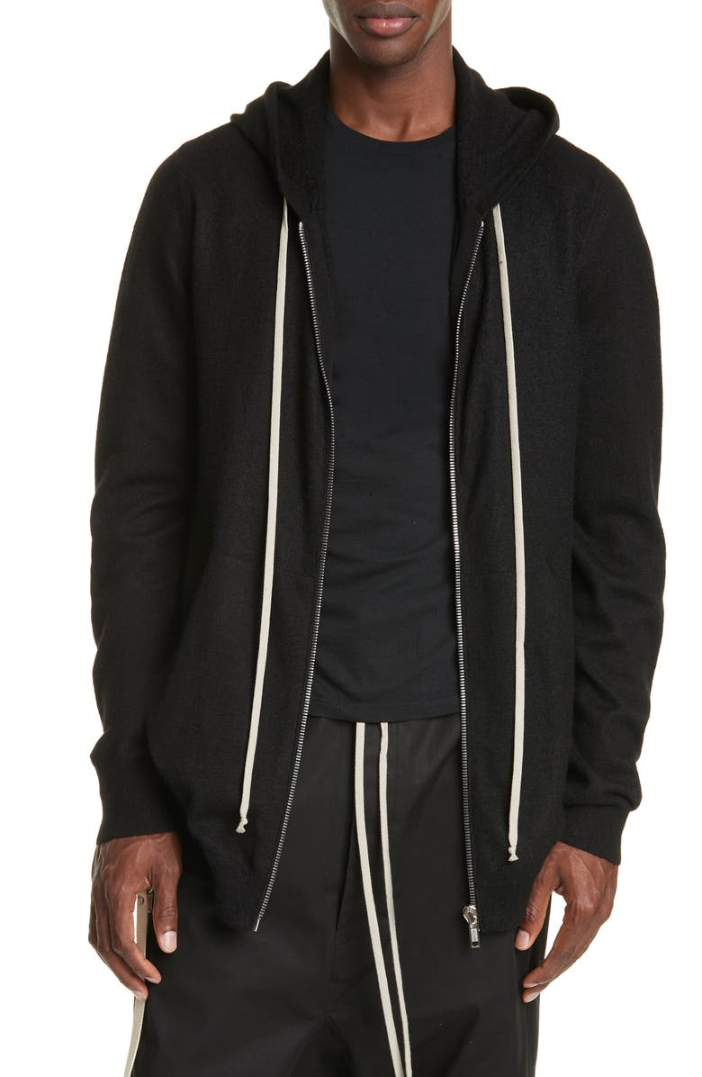 RICK OWENS Cashmere Zip Hoodie, Main, color, BLACK
