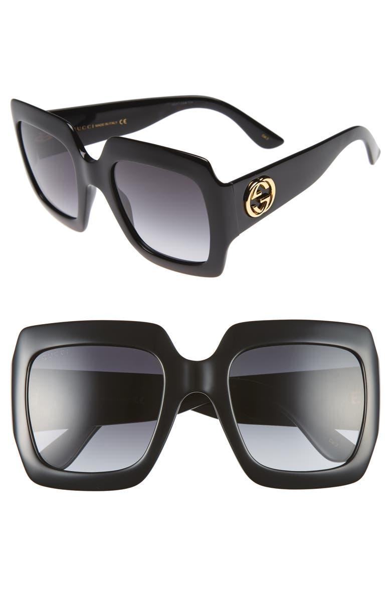 bb5aa9adad02 54mm Square Sunglasses, Main, color, BLACK/ GREY