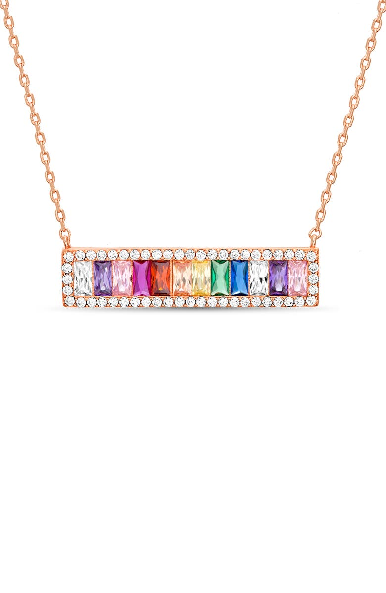 LESA MICHELE Lesa Michelle Rainbow Pendant Necklace, Main, color, ROSE GOLD/ MULTI