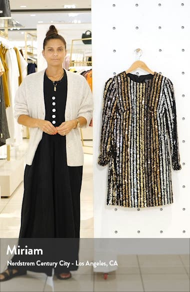Sequin Stripe Long Sleeve Shift Dress, sales video thumbnail