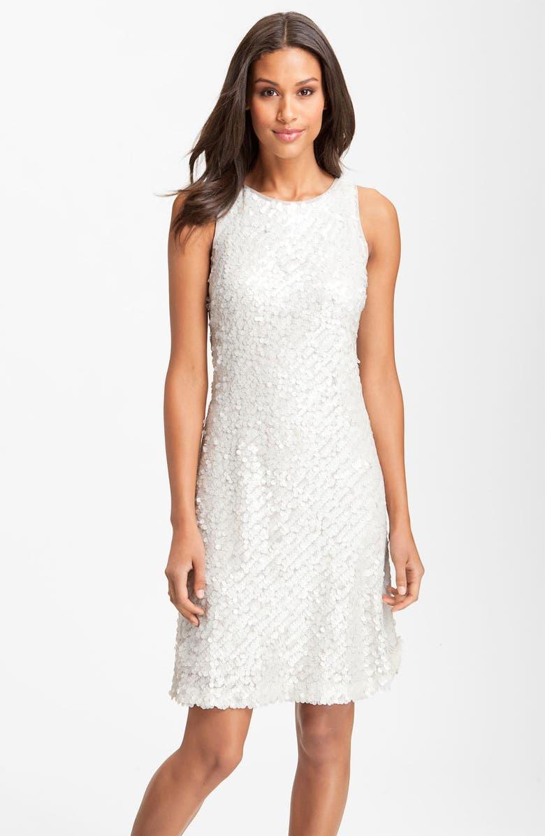 DONNA RICCO Sleeveless Sequin Shift Dress, Main, color, 100