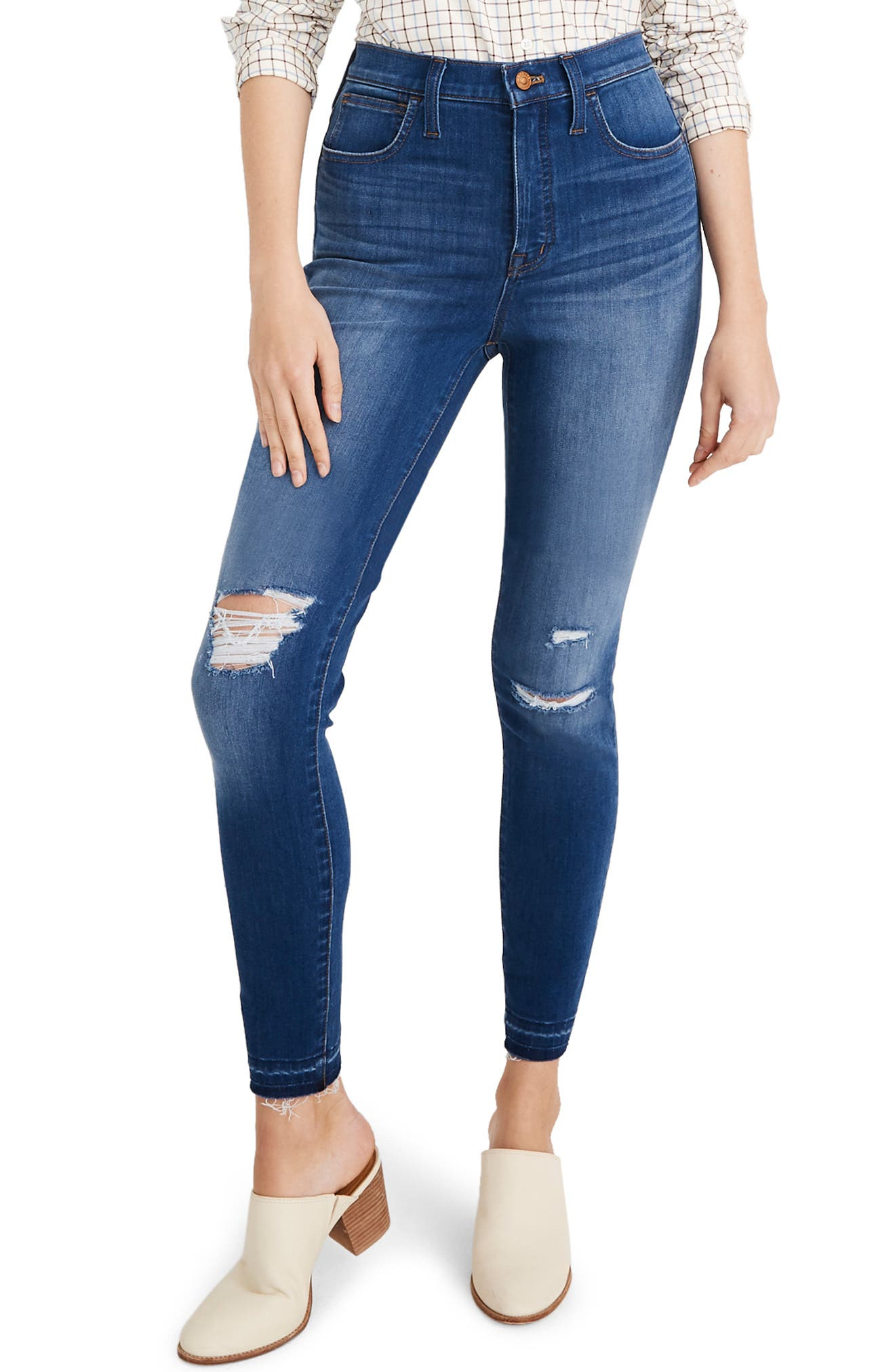Madewell Ripped 10-Inch High Waist Crop Skinny Jeans (Bixley)