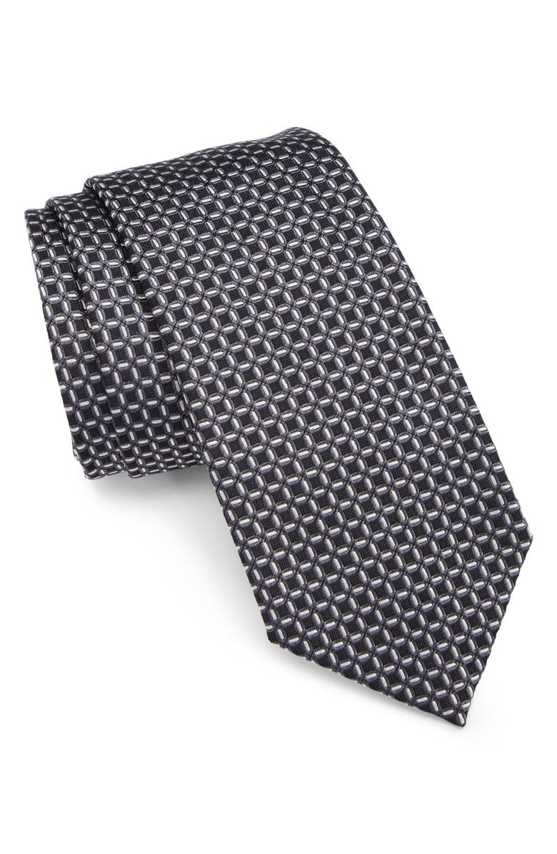 EMPORIO ARMANI Grid Silk Tie, Main, color, BLACK