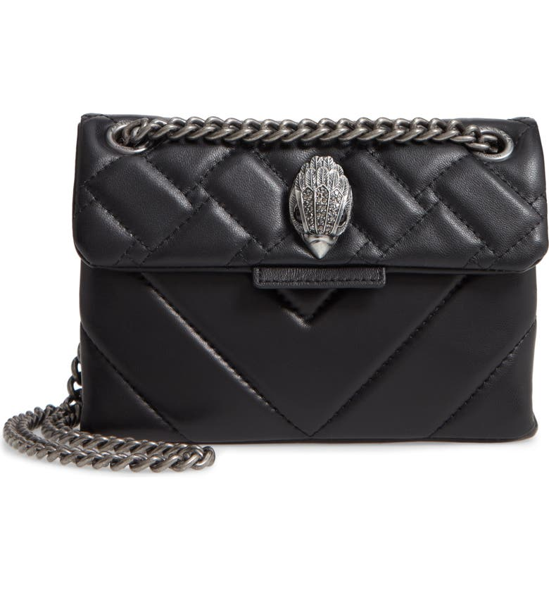 KURT GEIGER LONDON Mini Kensington Quilted Leather Crossbody Bag, Main, color, BLACK