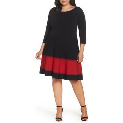 Plus Size Eliza J Contrast Stripe Fit & Flare Dress, Black