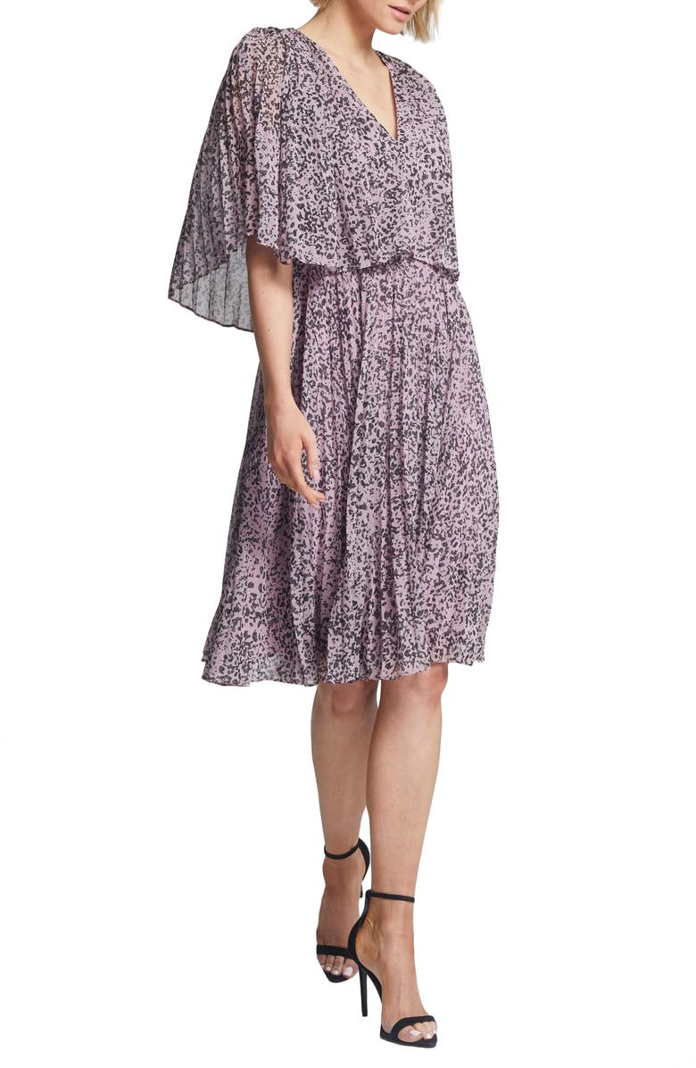 HALSTON HERITAGE Marble Print Popover Pleated Dress, Main, color, ROSE MARBLE PRINT