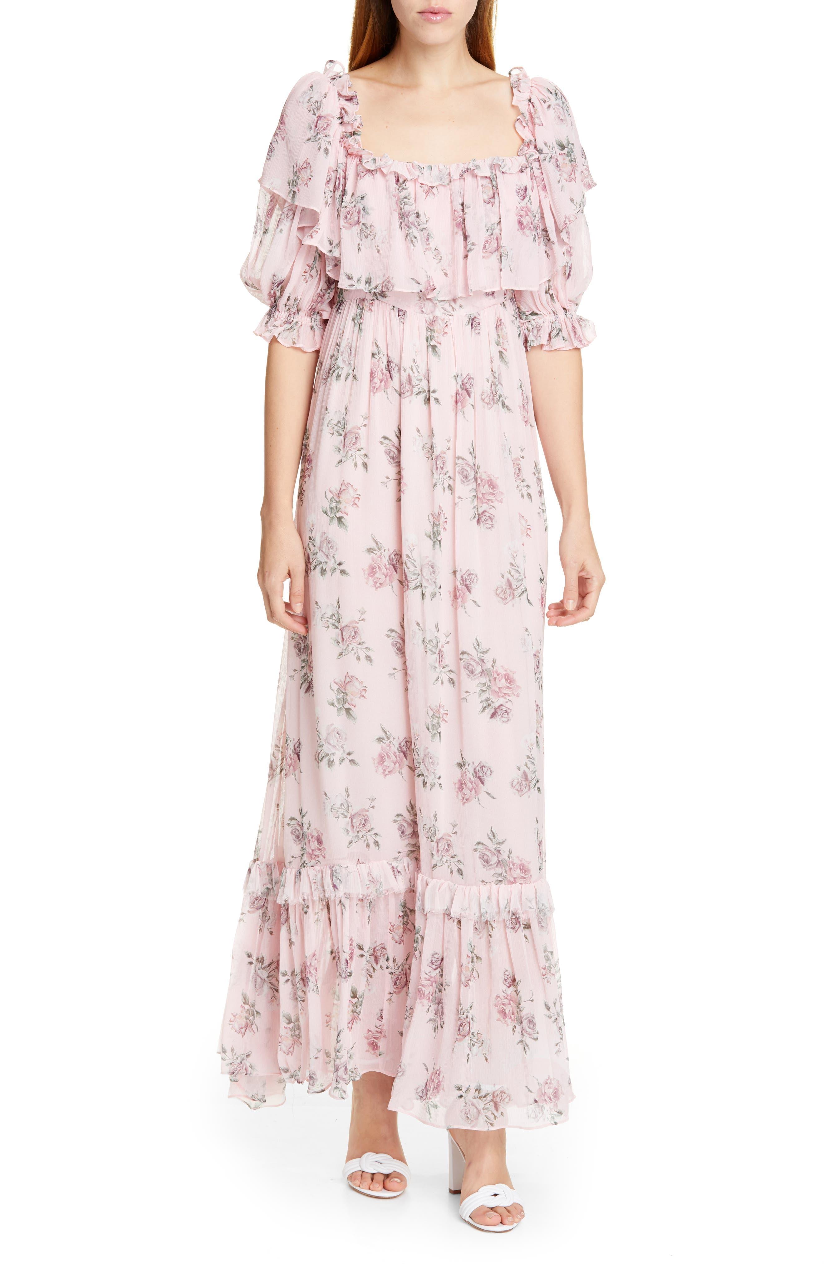 Loveshackfancy Tara Silk Maxi Dress, Pink