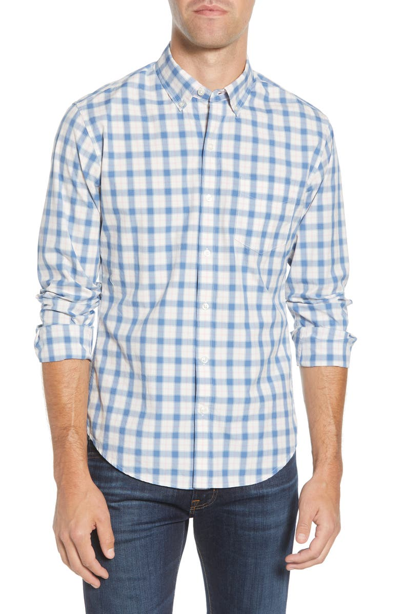 BONOBOS Slim Fit Check Washed Button-Down Sport Shirt, Main, color, 100