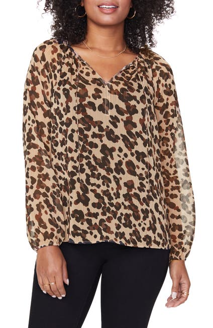 Image of NYDJ Leopard Print Split Neck Blouse
