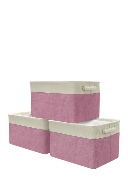 Image of Sorbus Pink Twill Storage Basket - Set of 3