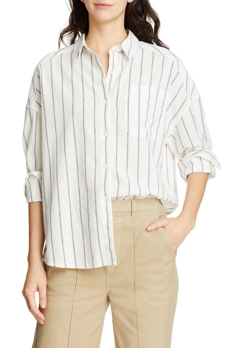 ALEX MILL Stripe Oversize Cotton & Linen Blouse, Main, color, OFF WHITE