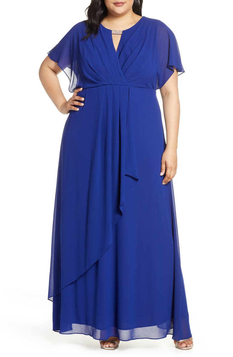 XSCAPE Chiffon Faux Wrap Gown, Main, color, ELECTRIC BLUE