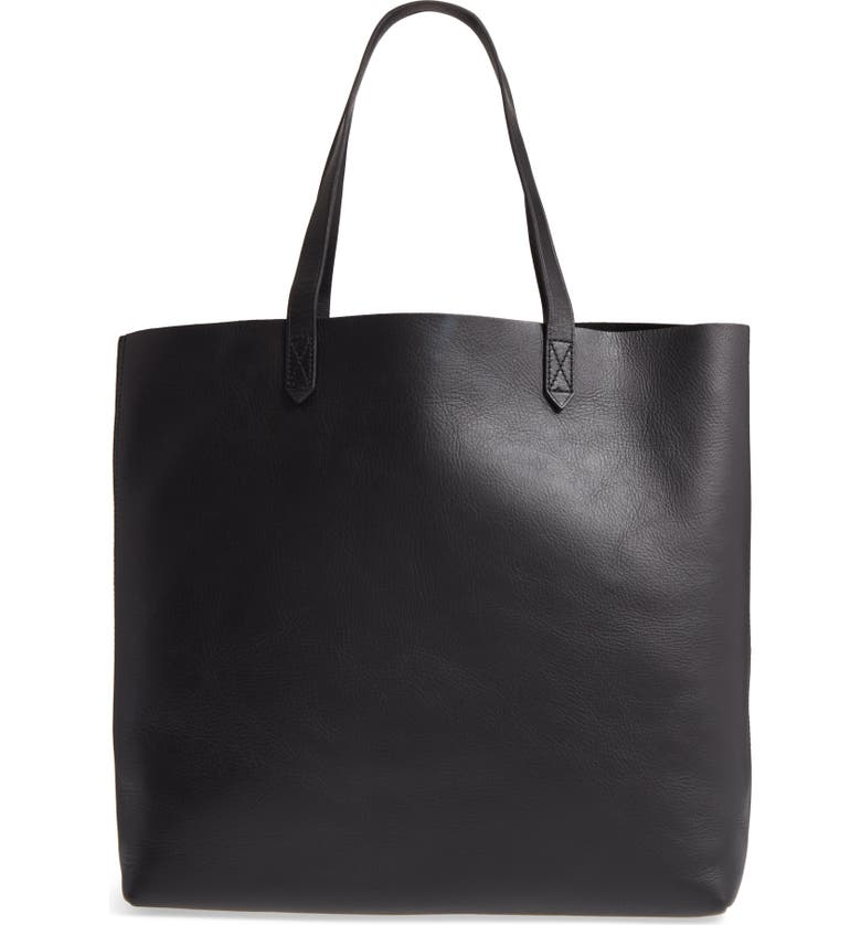 MADEWELL 'The Transport' Leather Tote, Main, color, TRUE BLACK/ BLACK