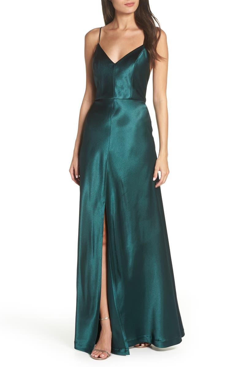 JENNY YOO Dina V-Neck Satin Crepe Gown, Main, color, 307