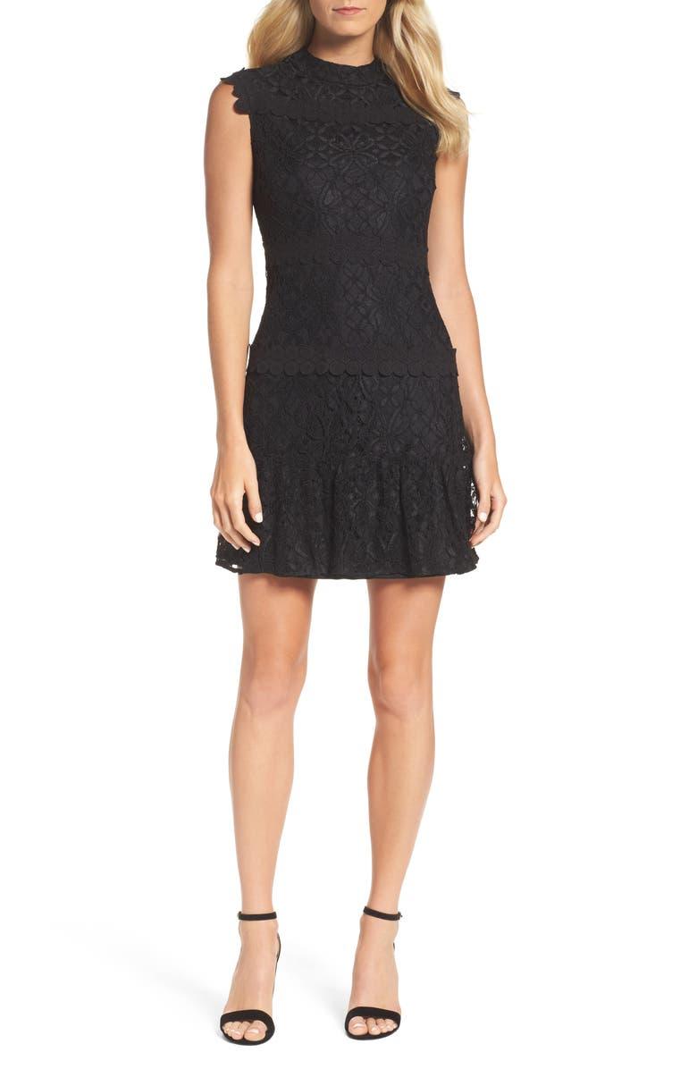 JULIA JORDAN Lace Sheath Dress, Main, color, BLACK