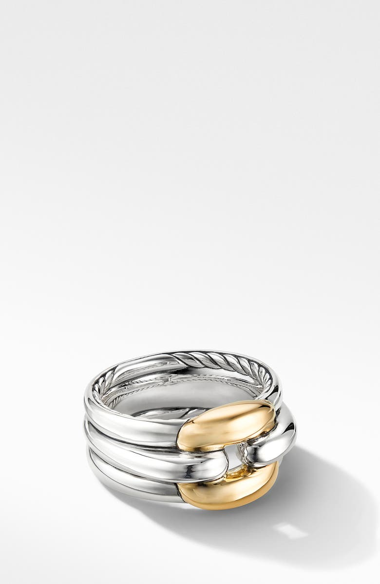 DAVID YURMAN Thoroughbred<sup>®</sup> Cushion Link Ring with 18K Yellow Gold, Main, color, SILVER/ YELLOW GOLD