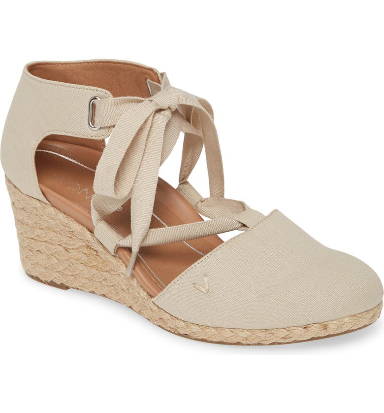 VIONIC Kaitlyn Open Sided Wedge Sandal, Main, color, OAT CANVAS