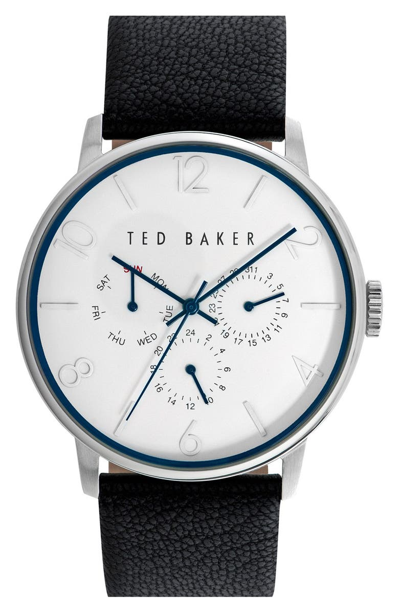 TED BAKER LONDON Multifunction Leather Strap Watch, 42mm, Main, color, 001