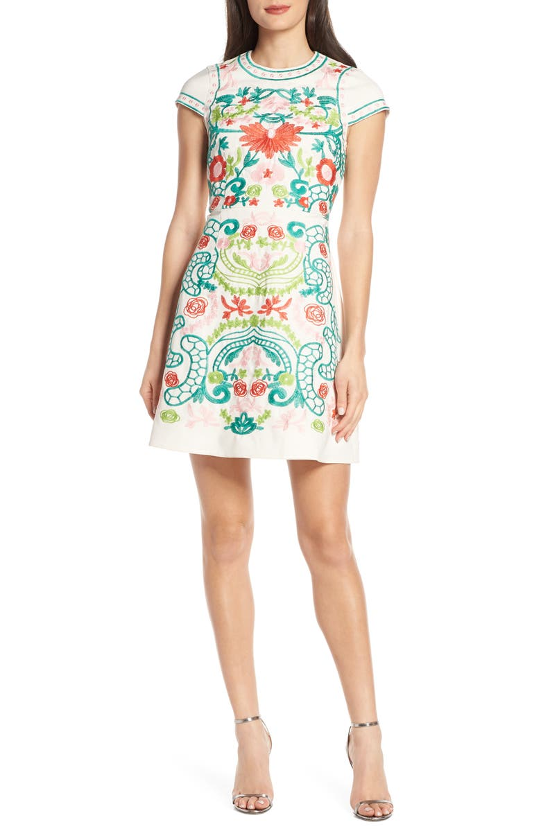 FOXIEDOX Sunset Key Embroidered Dress, Main, color, PINK GREEN MULTI