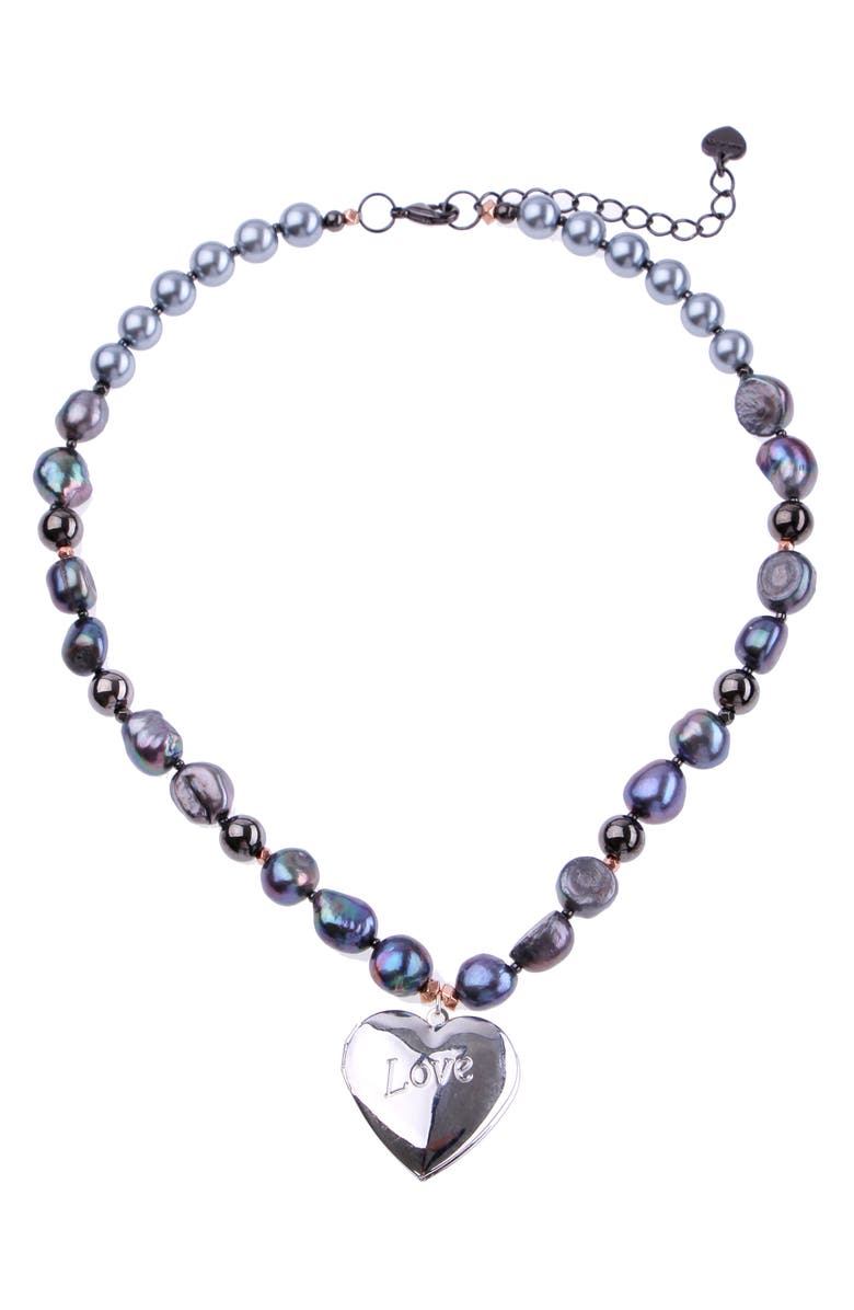 NAKAMOL CHICAGO Heart Locket Pearl Necklace, Main, color, BLUE PEARL/ SILVER
