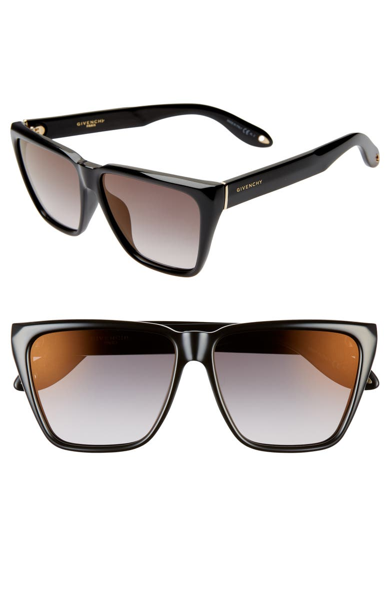 GIVENCHY 58mm Mirrored Flat Top Sunglasses, Main, color, BLACK/ GREY/ GOLD