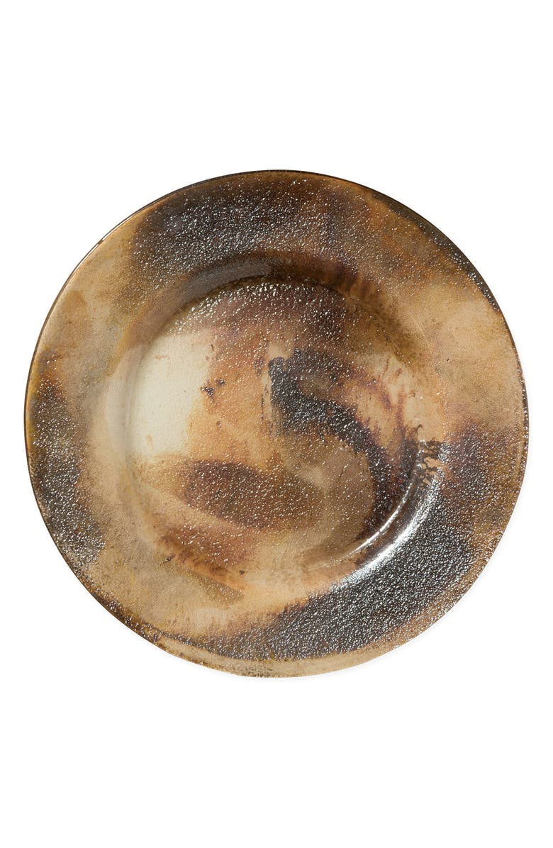 VIETRI Earth Glass Rimmed Charger Plate, Main, color, BROWN/ GOLD