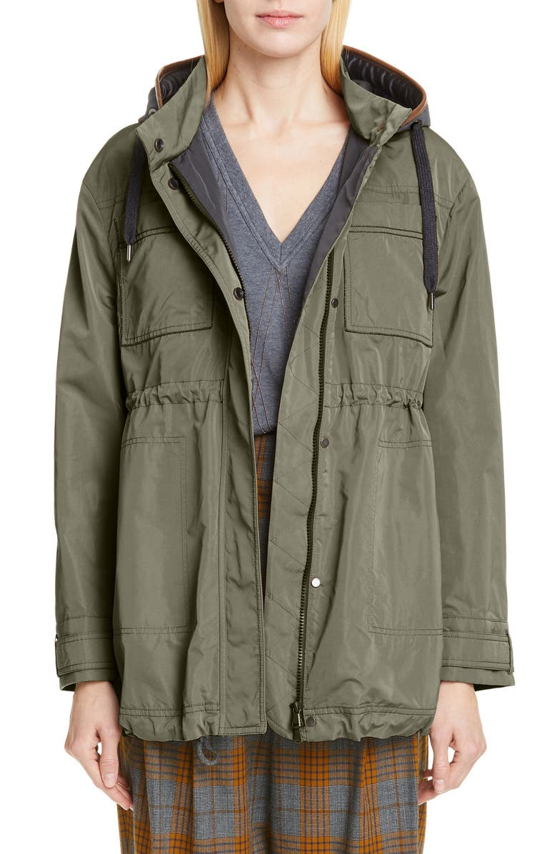 BRUNELLO CUCINELLI Monili Pocket Hooded Parka, Main, color, MILITARY