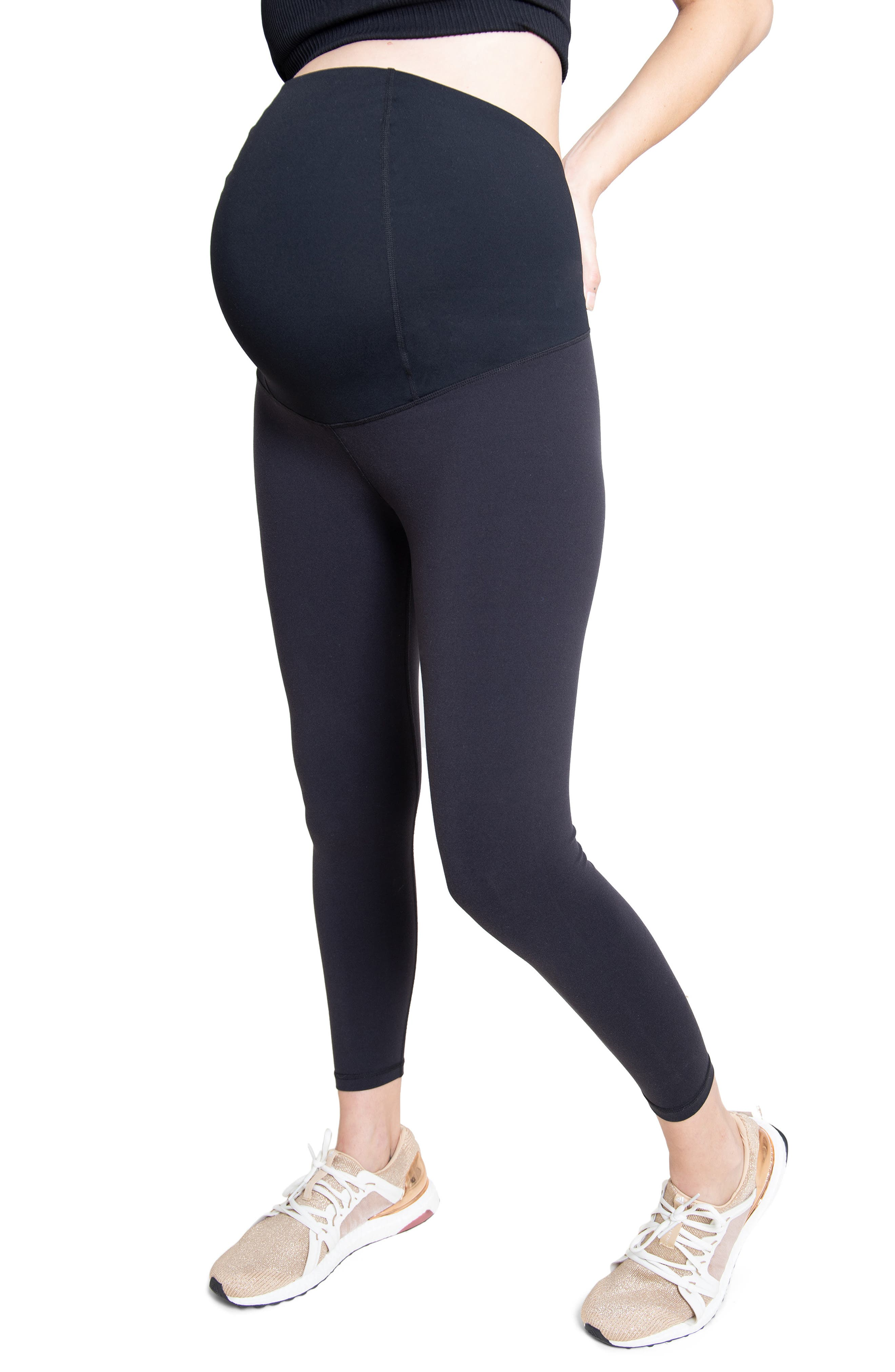 Ingrid & IsabelR Women's Ingrid & Isabel Crossover Waist 7/8 Active Maternity Leggings,  Small - Black