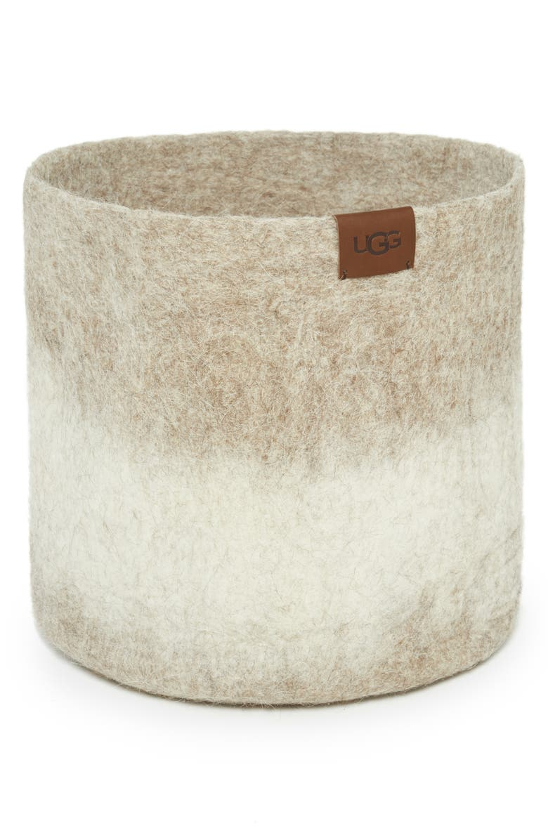 UGG<SUP>®</SUP> Vista Mar Felted Wool Basket, Main, color, SAND OMBRE