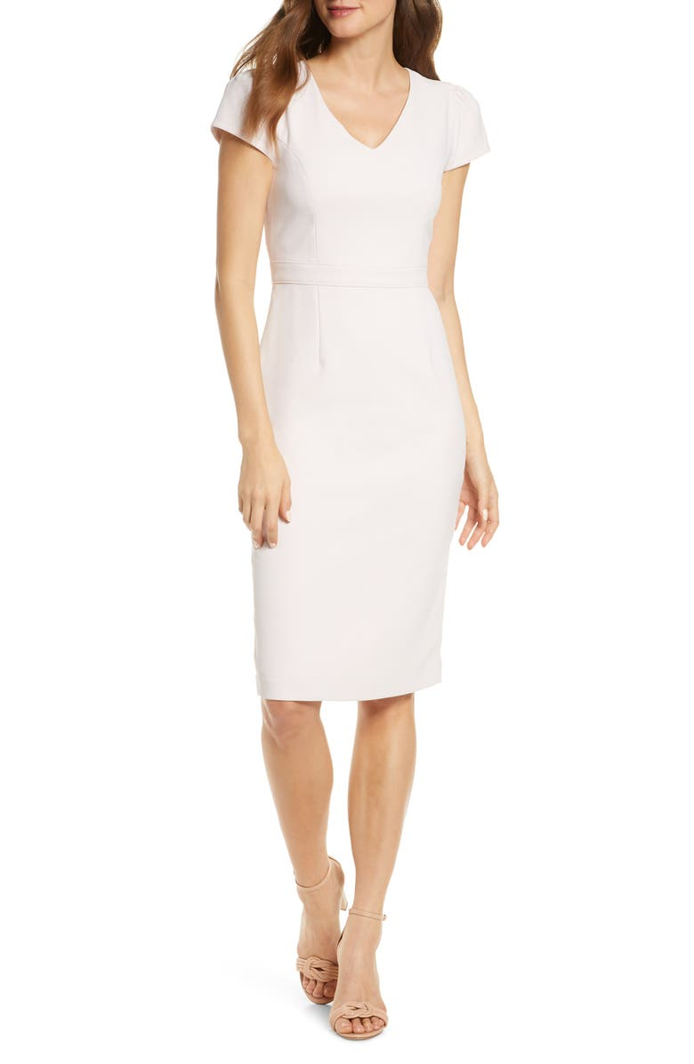 RACHEL PARCELL Short Sleeve Crepe Sheath Dress, Main, color, PINK FROSTY