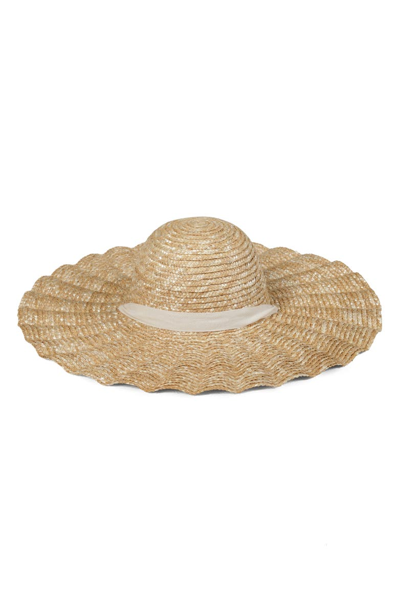 LACK OF COLOR Scalloped Dolce Straw Hat, Main, color, NATURAL