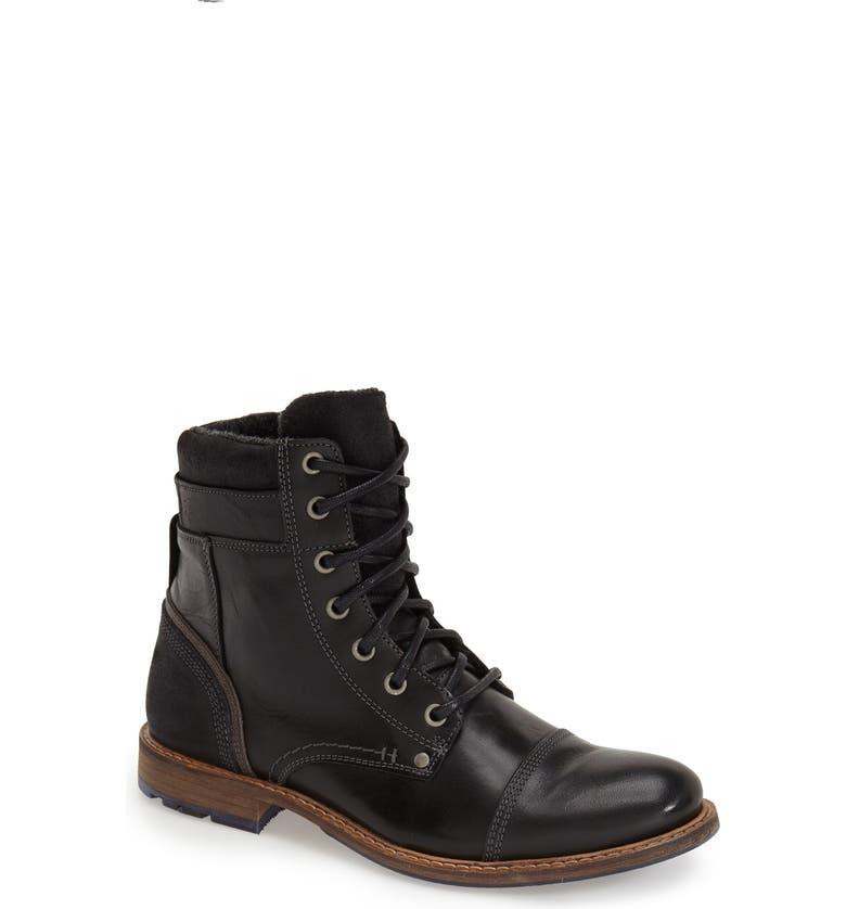 ALDO 'Croawia' Cap Toe Boot, Main, color, BLACK