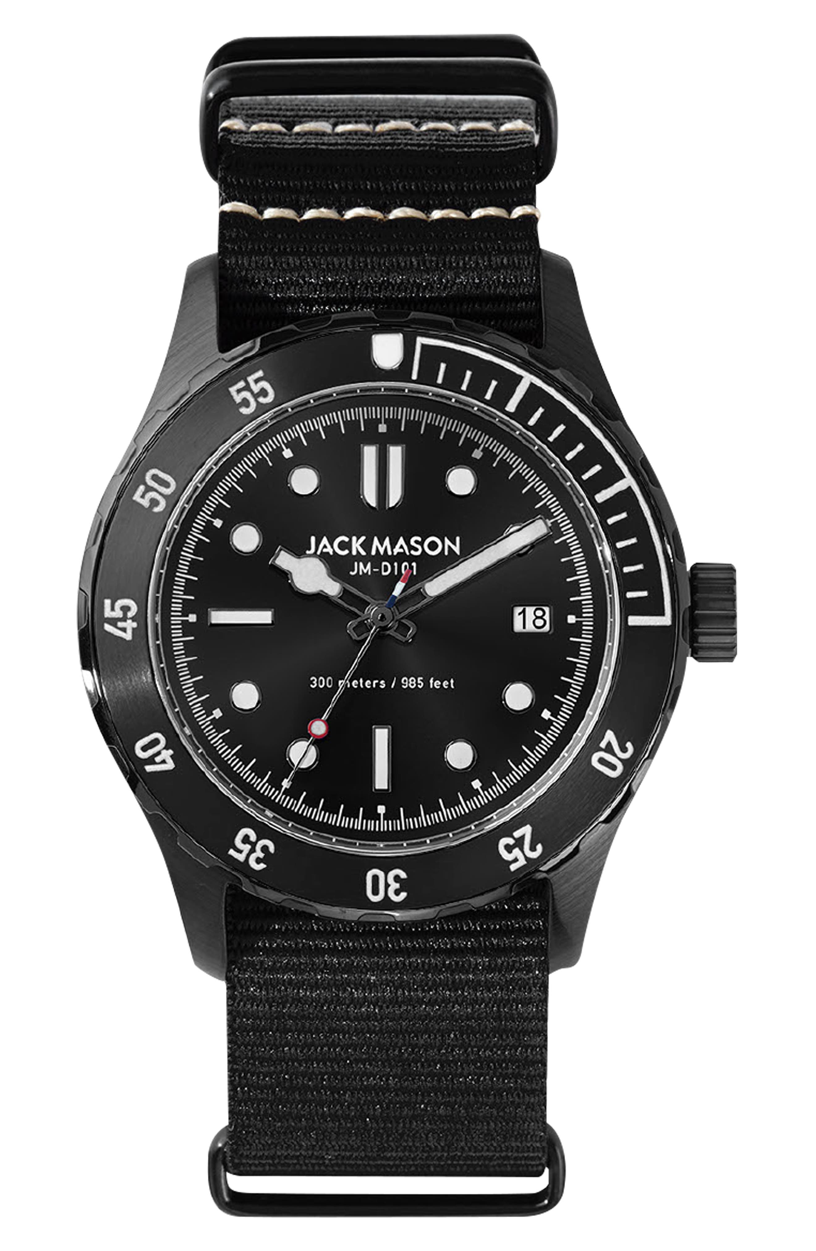 ,                             Diving Nato Strap Watch, 42mm,                             Main thumbnail 1, color,                             BLACK
