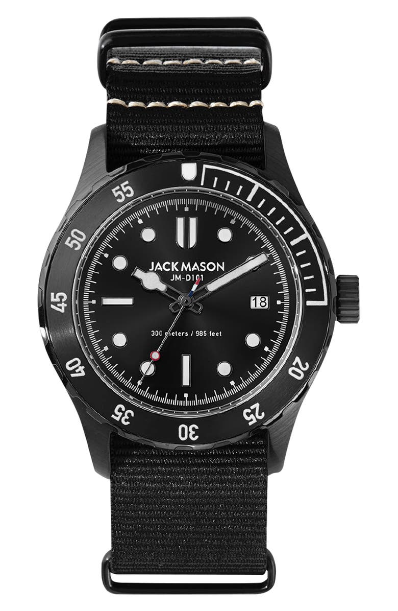 JACK MASON Diving Nato Strap Watch, 42mm, Main, color, 001