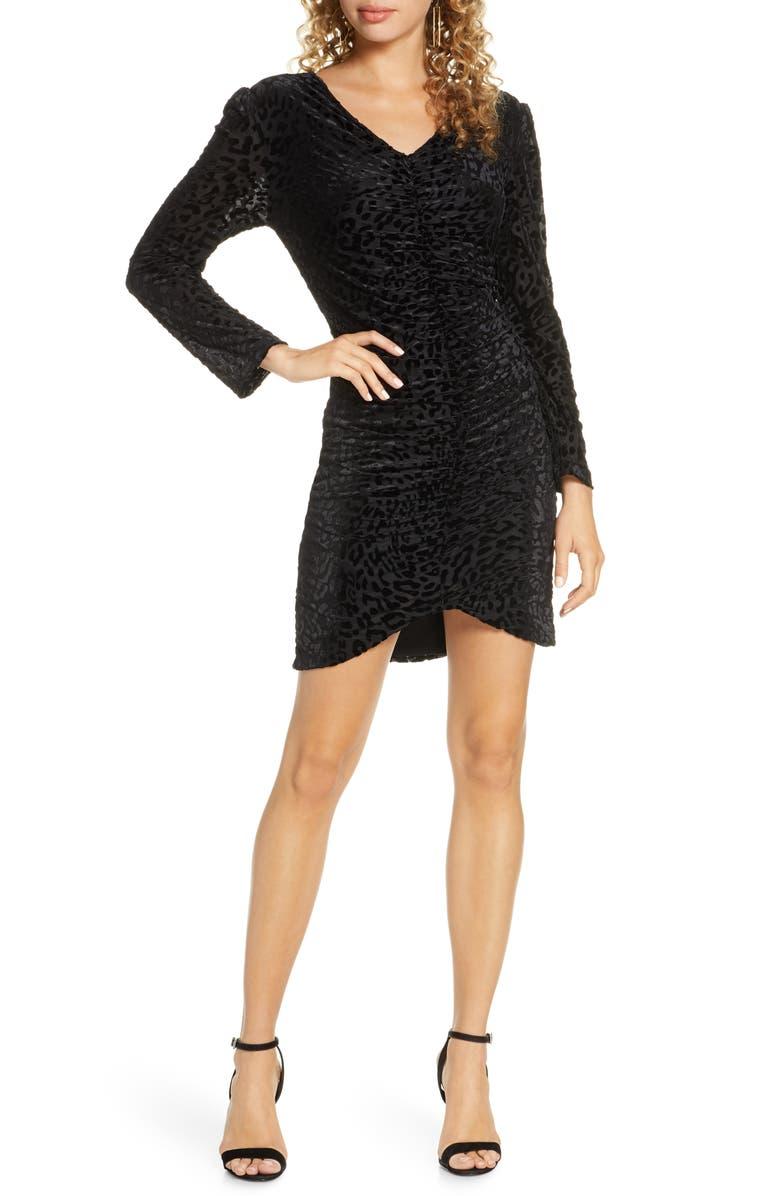 FRAICHE BY J Long Sleeve Leopard Velvet Dress, Main, color, BLACK
