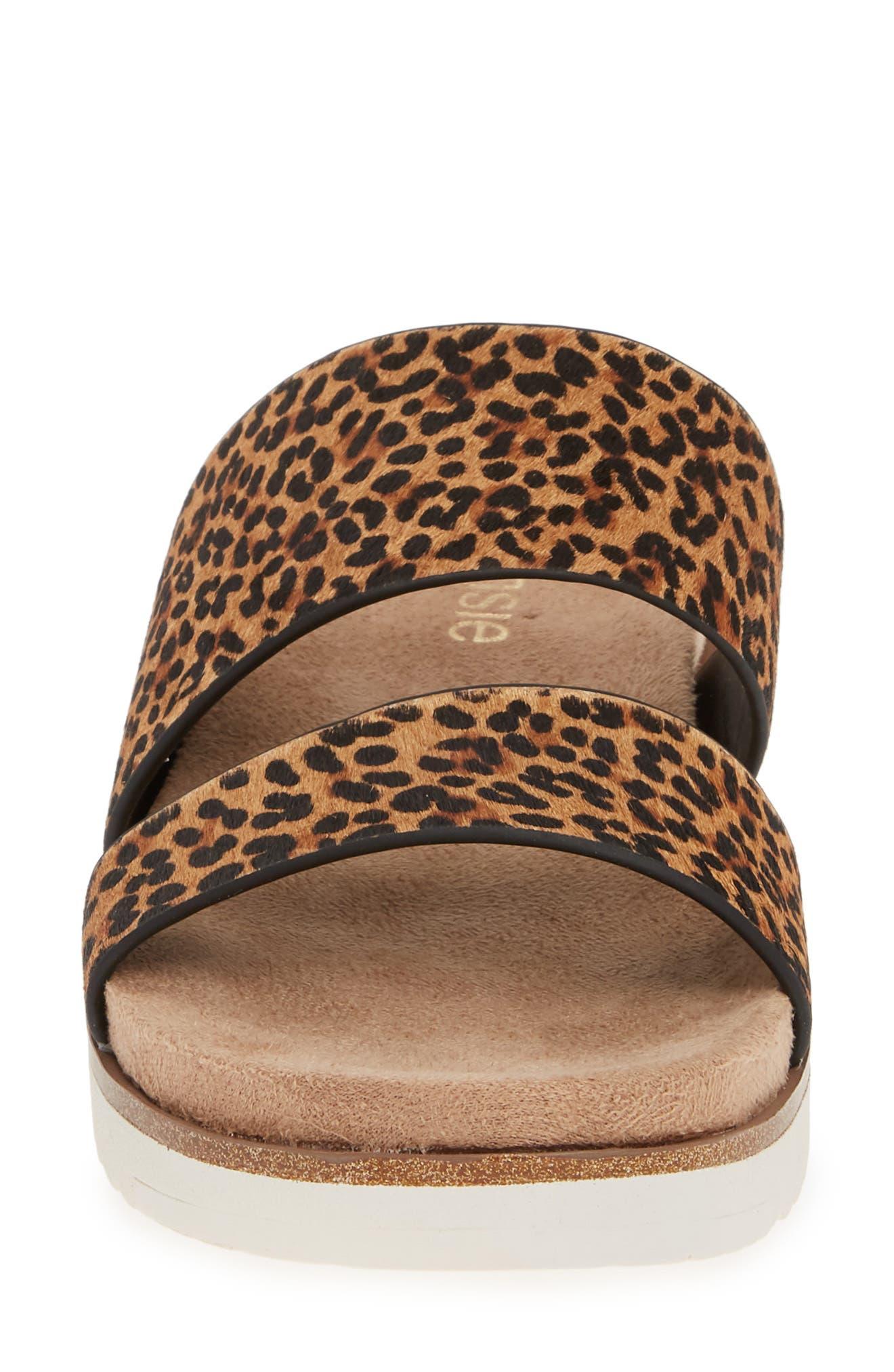 ,                             Danesha Genuine Calf Hair Slide Sandal,                             Alternate thumbnail 5, color,                             LEOPARD PRINT CALF HAIR