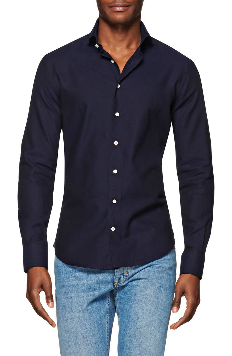 SUITSUPPLY Slim Fit Navy Button-Up Flannel Shirt, Main, color, NAVY