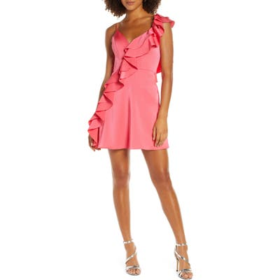 MAC Duggal One-Side Ruffle Party Dress, Pink