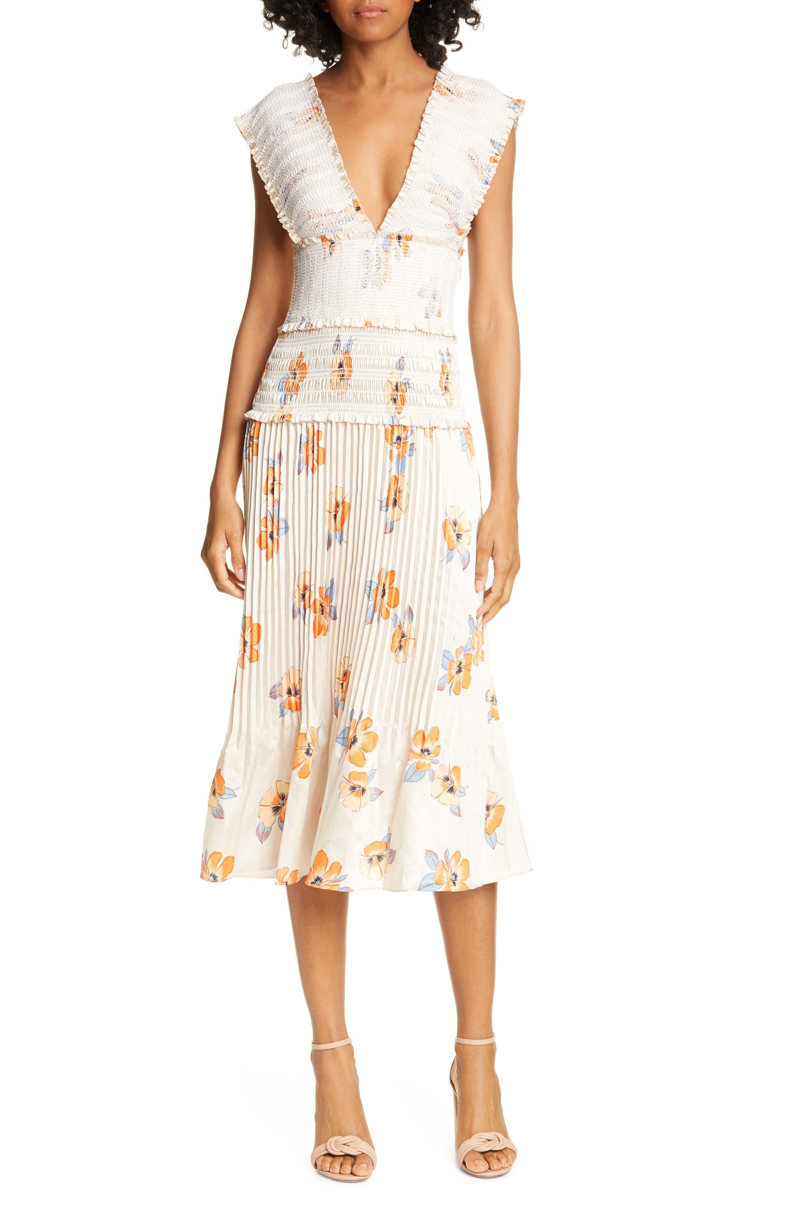 Nicholas Smocked Midi Dress, Orange