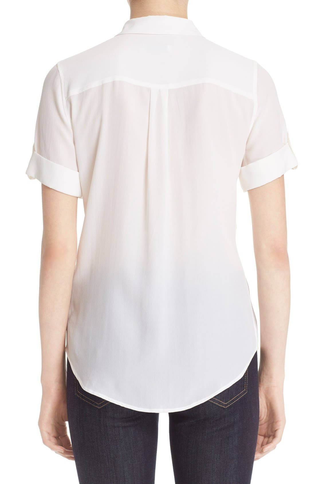 ,                             Slim Signature Short Sleeve Silk Shirt,                             Alternate thumbnail 7, color,                             BRIGHT WHITE
