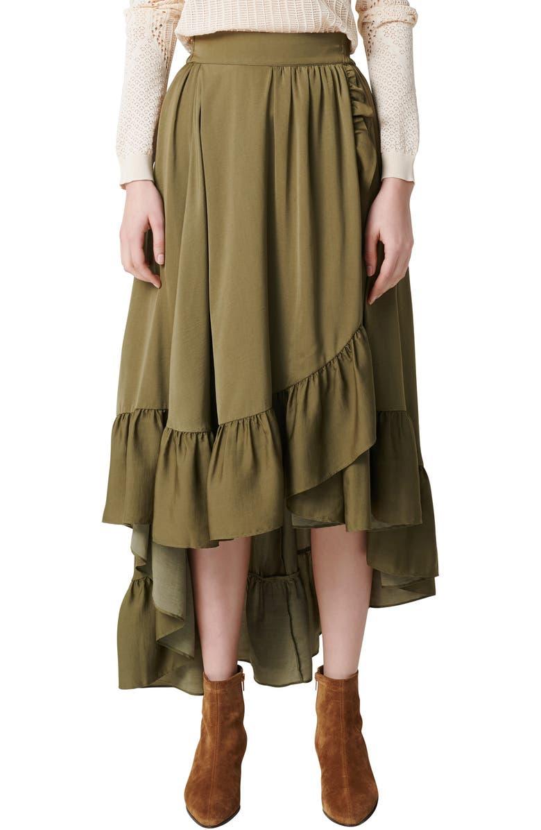 MAJE Johno Ruffle High/Low Skirt, Main, color, KHAKI GREEN