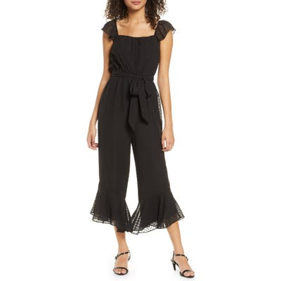 Ali & Jay The Avalon Ruffled Swiss Dot Crop Jumpsuit, Black