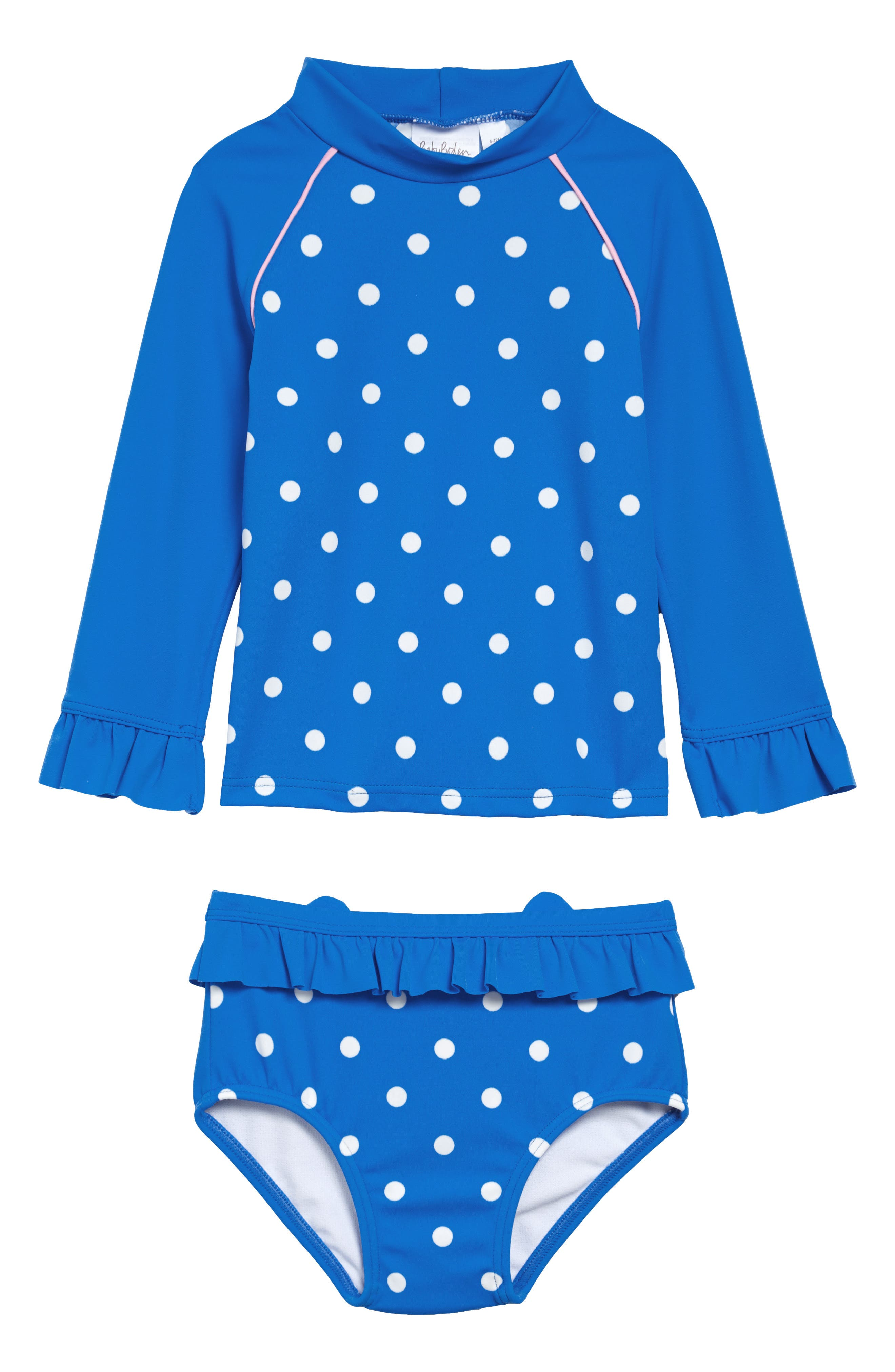 Protect your little one from the surf, sand and sun with this two-piece swimsuit featuring a long-sleeve rashguard top and cat-themed swim bottoms. Style Name: Mini Boden Cat Two-Piece Rashguard Swim Suit (Toddler). Style Number: 6042738. Available in stores.