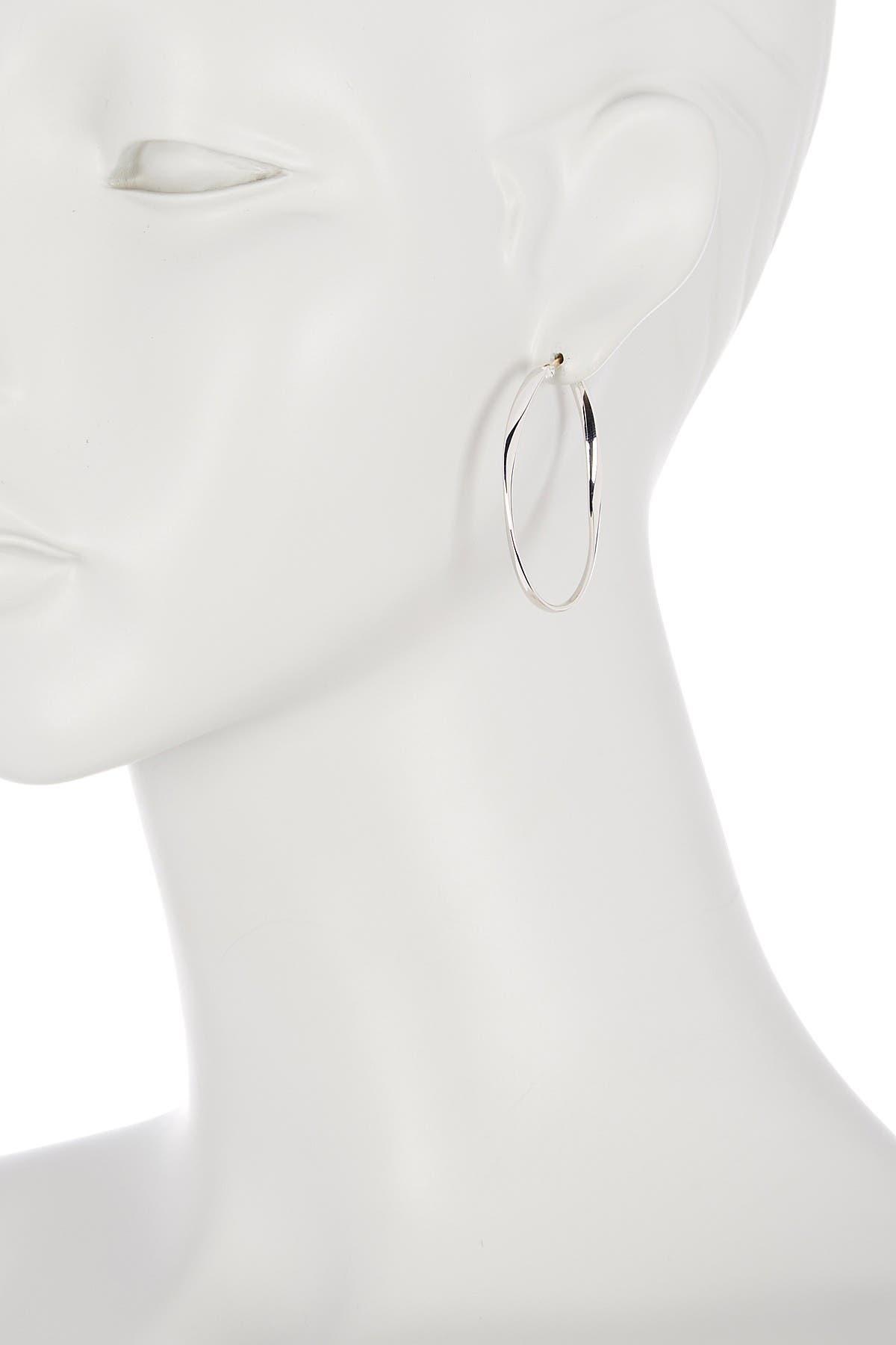 Image of Candela 14K Gold Sterling Silver Findings Oval Twisted Hoop Earrings