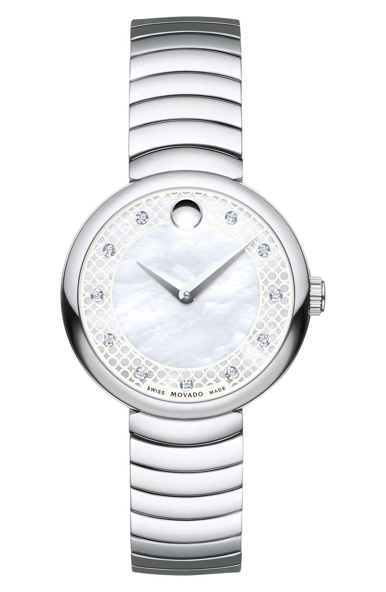 MOVADO Myla Bracelet Watch, 28mm, Main, color, SILVER/ WHITE