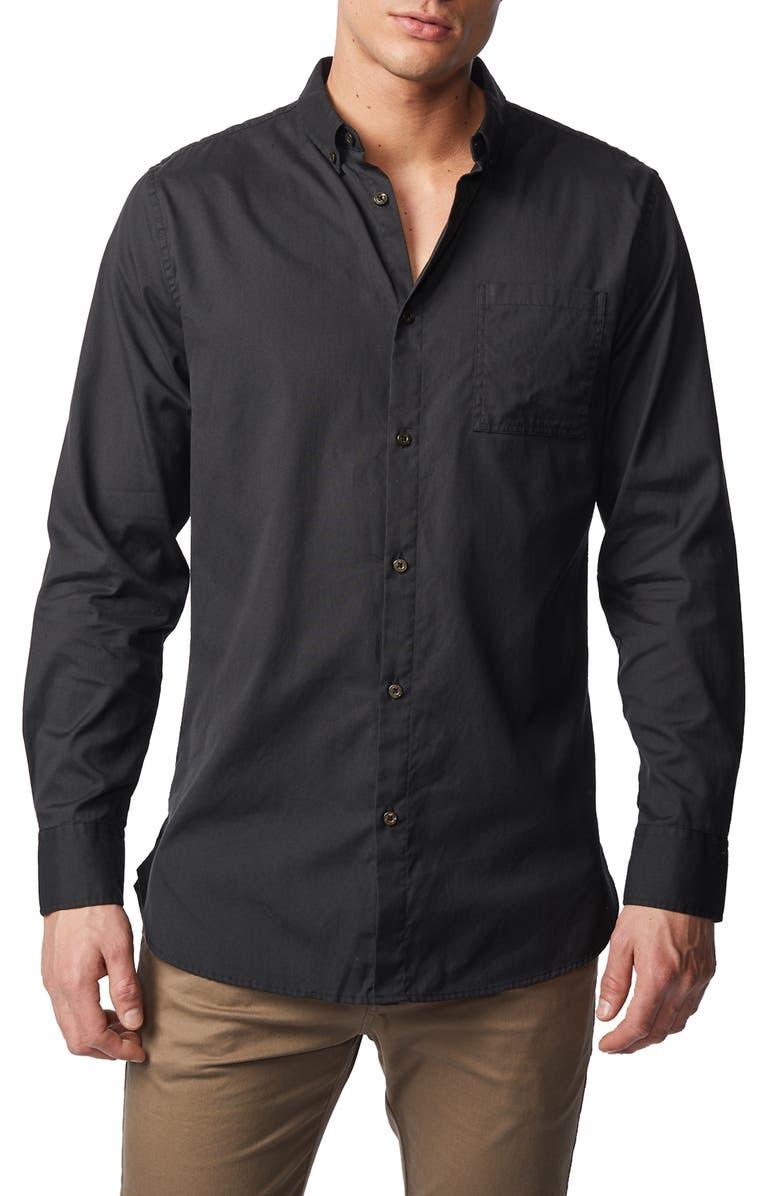 ZANEROBE 7-Foot Button-Down Oxford Shirt, Main, color, BLACK