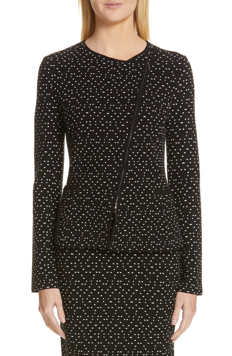 EMPORIO ARMANI Polka Dot Asymmetrical Jacket, Main, color, BLACK/ WHITE