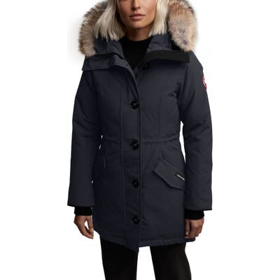Canada Goose Rossclair Fusion Fit Genuine Coyote Fur Trim Down Parka, (2-4) - Blue