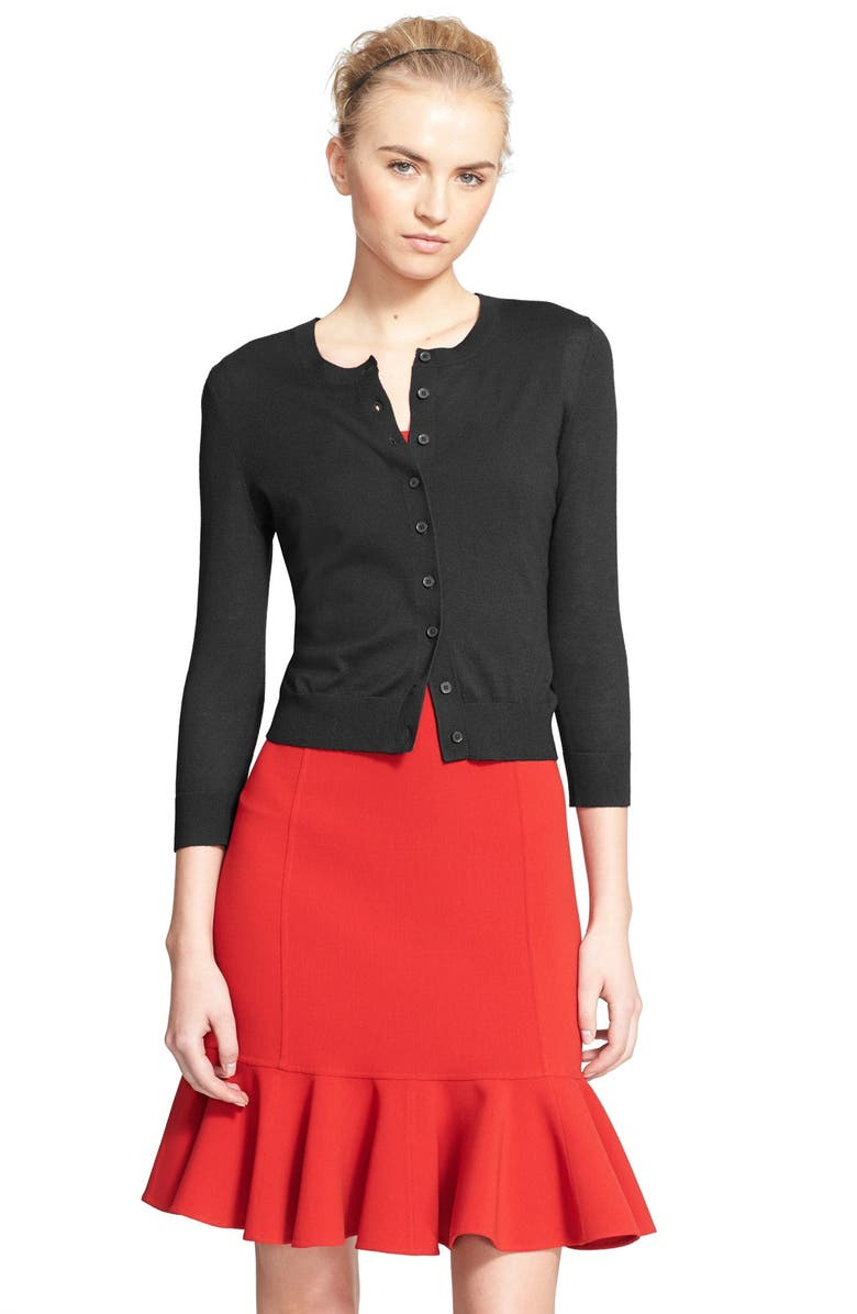 MICHAEL KORS Featherweight Cashmere Cardigan, Main, color, 001